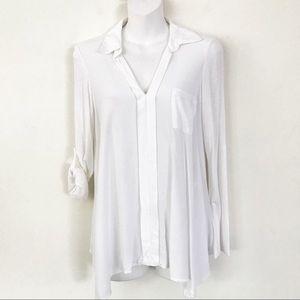 Anthropologie PLEIONE white roll-up sleeve shirt